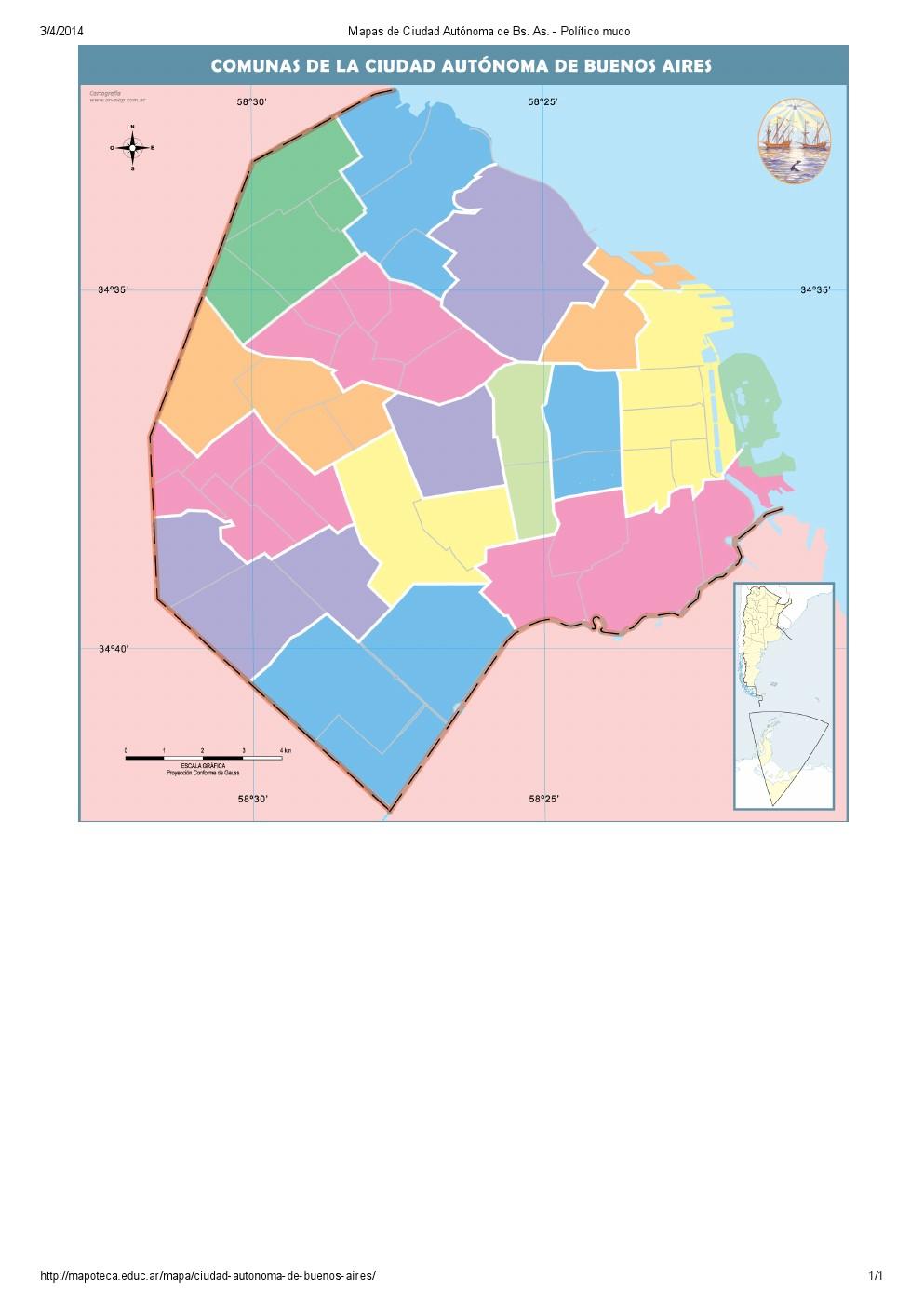 Mapa mudo de comunas de la ciudad de Buenos Aires. Mapoteca de Educ.ar