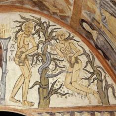 El Pecado Original. Pintura mural de la Iglesia de la Vera Cruz de Maderuelo.