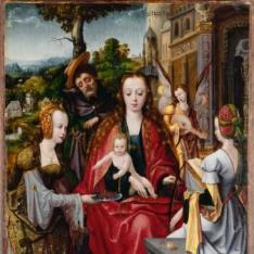 La Sagrada Familia con dos Santas
