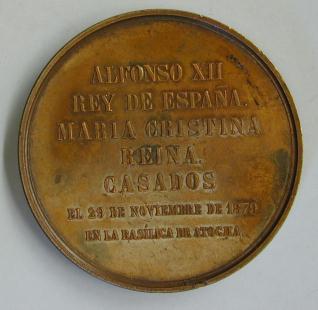Medalla conmemorativa de la boda del rey Alfonso XII con María Cristina de Habsburgo