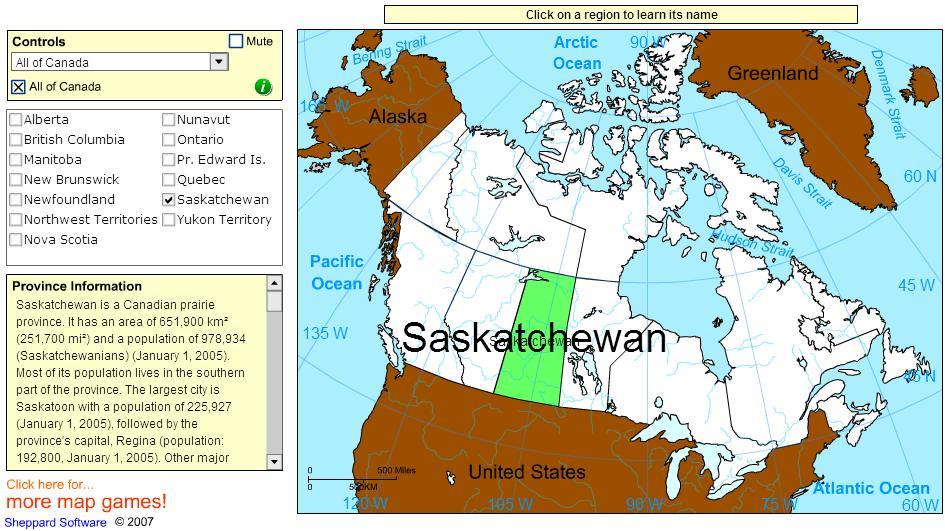Provinces of Canada. Tutorial. Sheppard Software