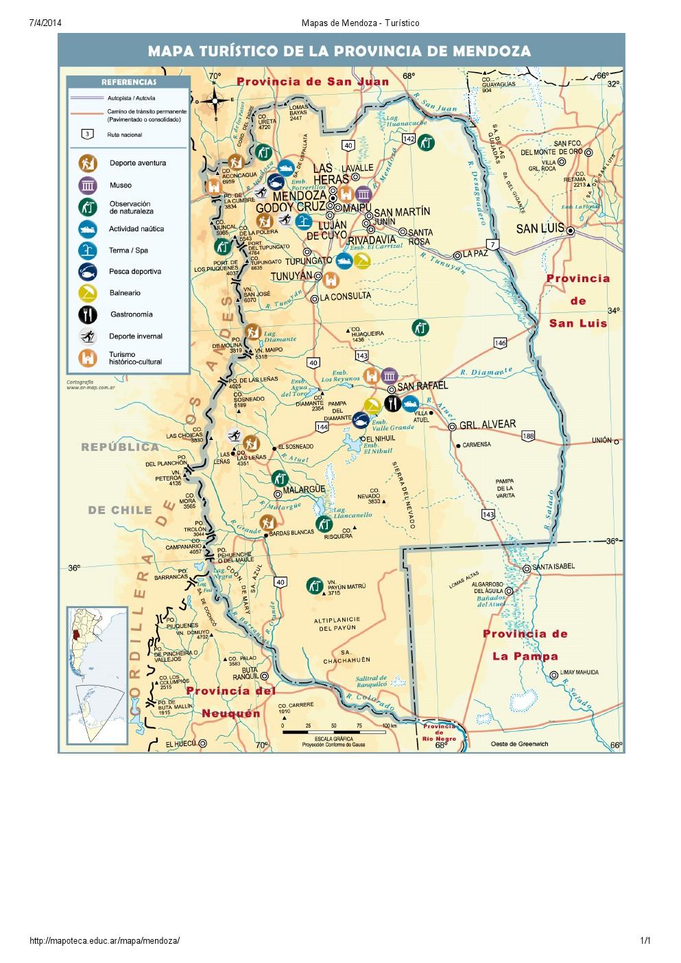 Mapa turístico de Mendoza. Mapoteca de Educ.ar