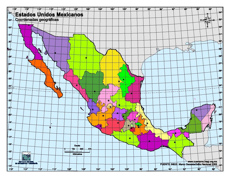 Mapa mudo en color de capitales de México. INEGI de México