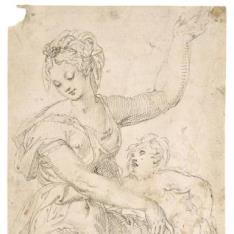 Figura femenina sentada con un niño desnudo