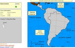 Countries of South and Central America. Intermediate. Sheppard Software