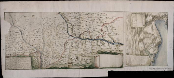 Mapa de la frontera entre España y Portugal en 1668