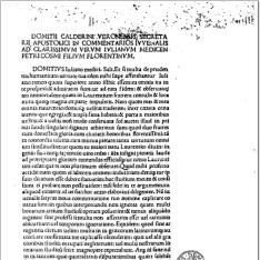 Satyrae. Com. Domitius Calderinus. - Calderinus, Domitius : Defensio adversus Brotheum