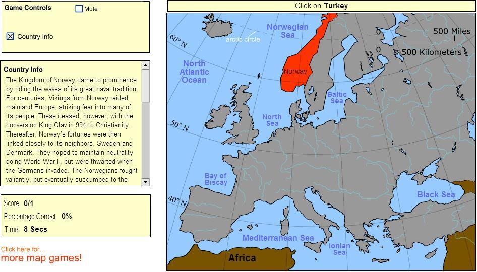 Countries of Europe. Advanced Intermediate. Sheppard Software