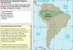 Geographic regions of South America. Tutorial. Sheppard Software