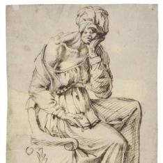 Anciana sentada con un libro en el regazo