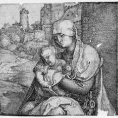 La Virgen con el Niño al pie de una muralla