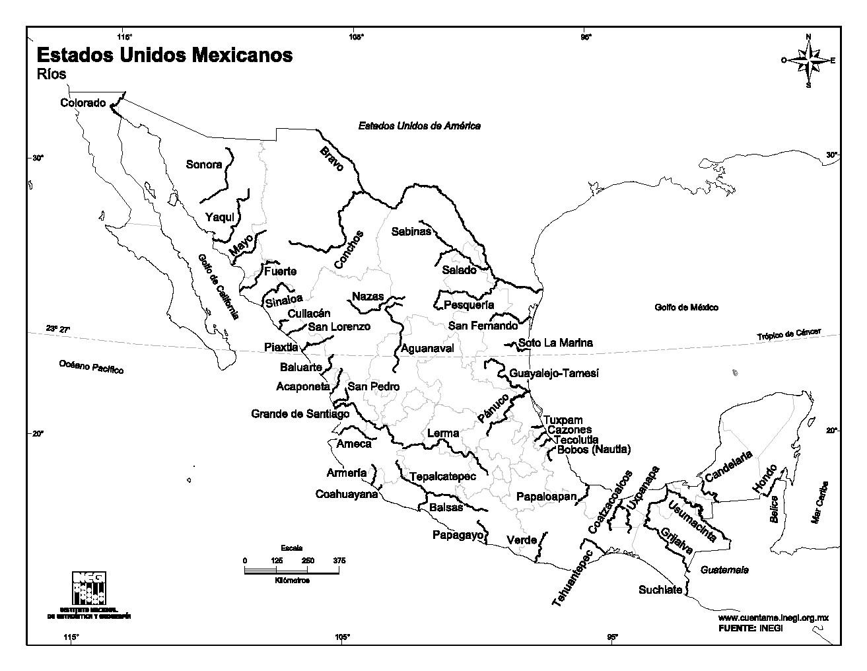 Mapa de ríos de México. INEGI de México
