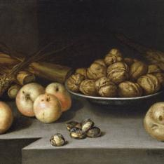 Bodegón con manzanas, plato de nueces y caña de azúcar