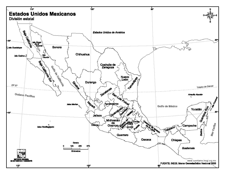 Mapa Para Imprimir De México Mapa De Estados Unidos Mexicanos Inegi