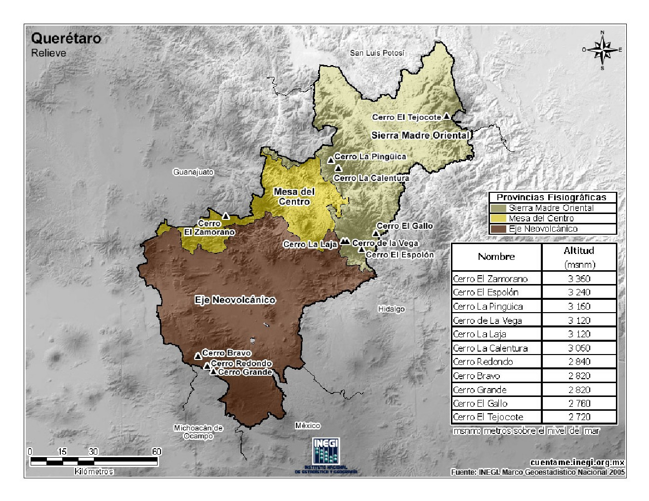 Mapa en color de montañas de Querétaro. INEGI de México
