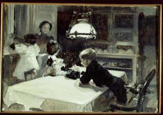 Clotilde con los hijos, día de Reyes