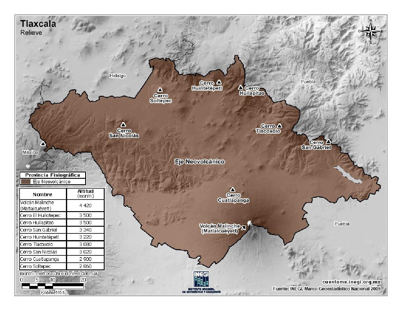 Mapa en color de montañas de Tlaxcala. INEGI de México