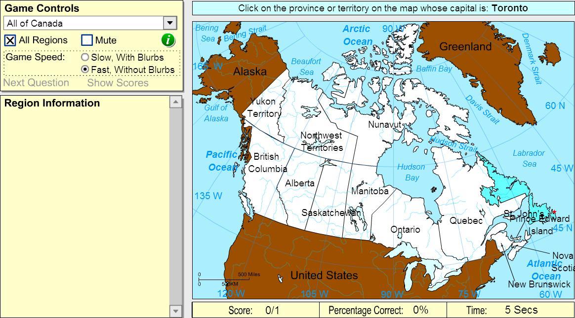 Capitals of Canada. Beginner. Sheppard Software
