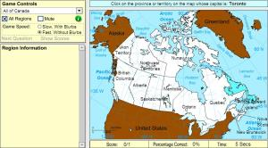 Capitals of Canada. Beginner. Sheppard Software