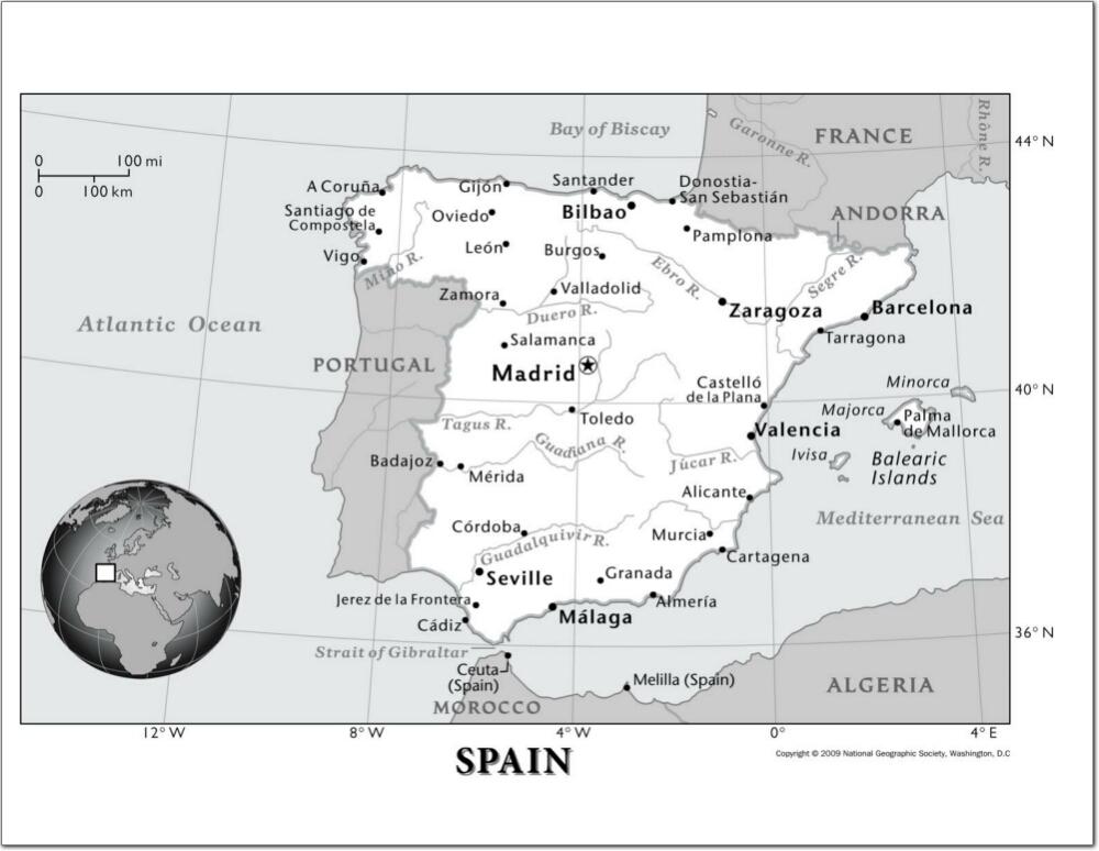 Mapa de ciudades y ríos de España. National Geographic