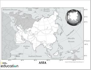 Mapa de países de Asia. National Geographic