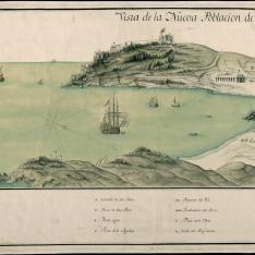 Vista de la Nueva Población de las Aguilas por el lado del Puerto de Levante