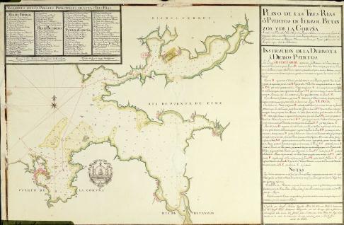 Plano de las Tres Rías o Puertos de Ferrol, Betanzos y de la Coruña