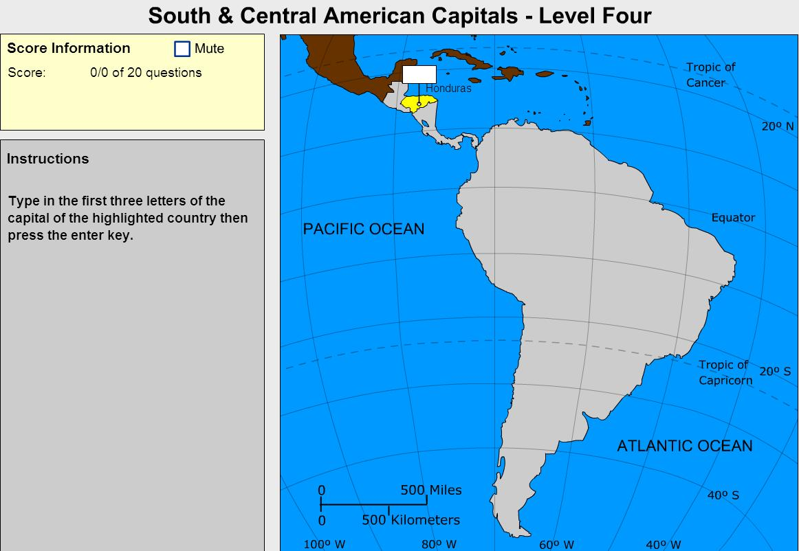 Capitals of South and Central America. Cartographer. Sheppard Software