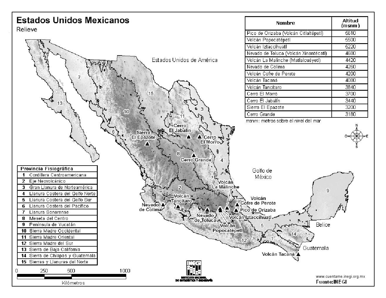 Mapa de montañas de México. INEGI de México