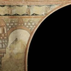 Enjuta izquierda arco entrada. Pintura mural de la Iglesia de la Vera Cruz de Maderuelo.
