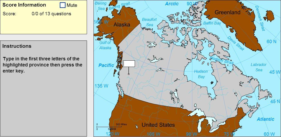 Provinces of Canada. Explorer. Sheppard Software