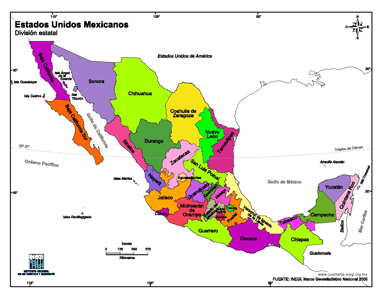 Mapa Para Imprimir De México Mapa En Color De Estados Unidos