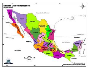 Mapa en color de Estados Unidos Mexicanos. INEGI de México