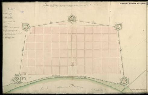 Plano de las Fortificaciones en Nueva Orleans, Luisiana