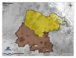 Mapa mudo de montañas de Guanajuato. INEGI de México