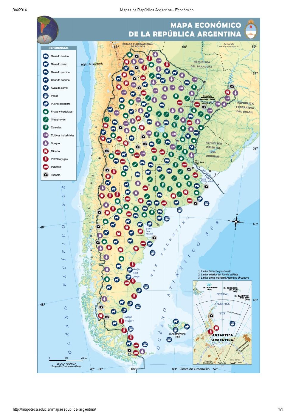 Mapa económico de Argentina. Mapoteca de Educ.ar