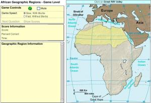 Geographic regions of Africa. Game. Sheppard Software