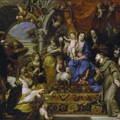 La Virgen con el Niño entre las Virtudes Teologales y santos