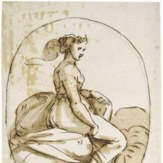 Composición oval, con una mujer sentada sobre las nubes
