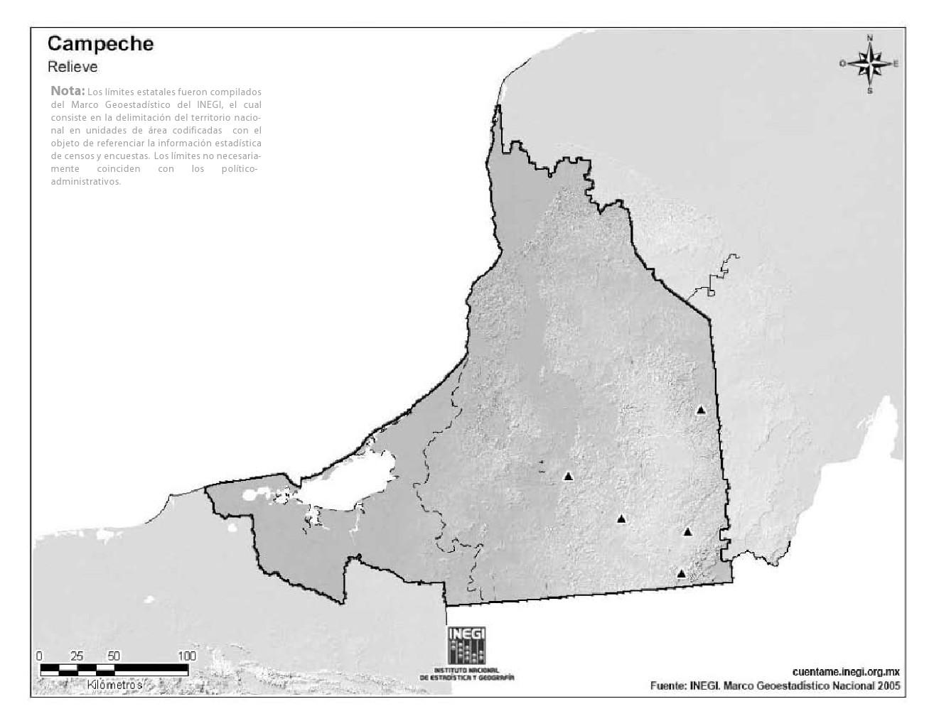 Mapa mudo de montañas de Campeche. INEGI de México