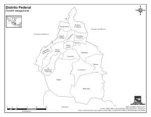 Mapa de municipios de Ciudad de México. INEGI de México