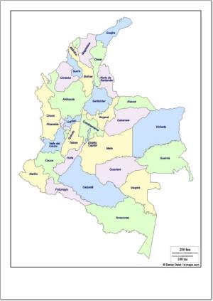 Mapa de departamentos de Colombia. d-maps