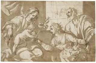 Interior con la Virgen, el Niño, San Marcos y la  alegoría de Venecia