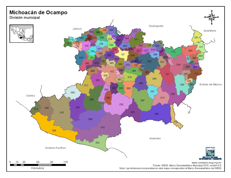 Mapa en color de los municipios de Michoacán de Ocampo. INEGI de México