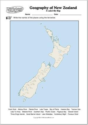 Mapa mudo de ríos y montañas de Nueva Zelanda. WorksheetWorks