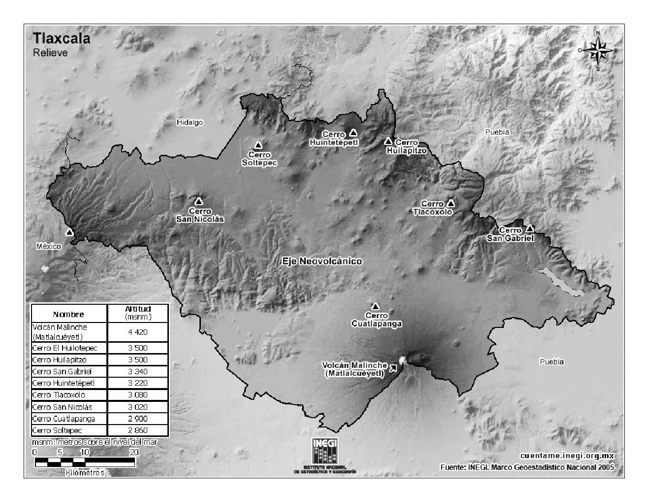 Mapa de montañas de Tlaxcala. INEGI de México