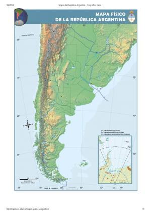 Mapa orográfico mudo de Argentina. Mapoteca de Educ.ar