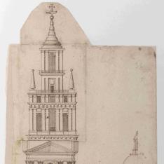 Alzado de fachada de un templo