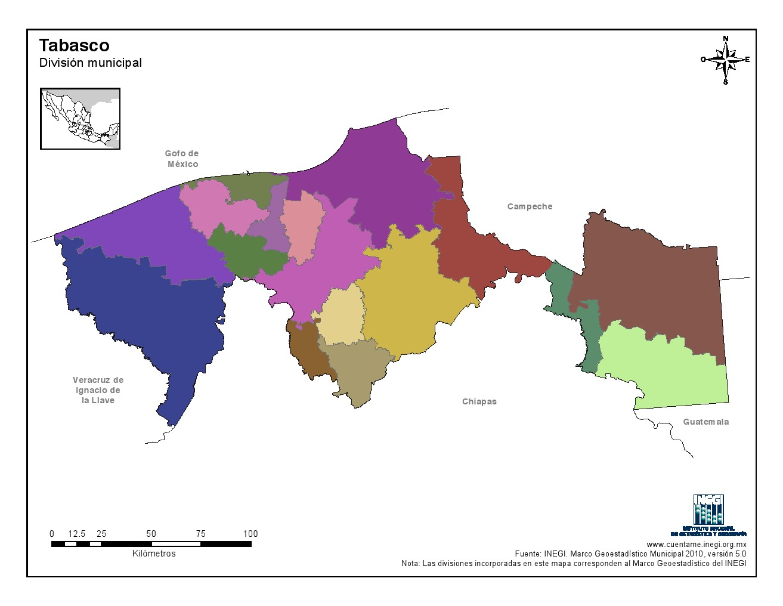 Mapa mudo de municipios de Tabasco. INEGI de México