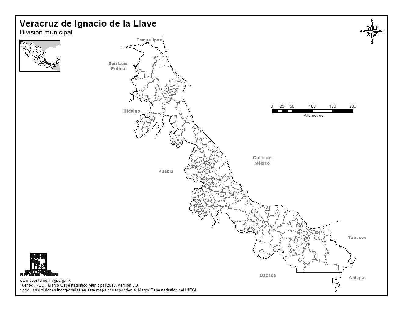 Mapa mudo de municipios de Veracruz. INEGI de México